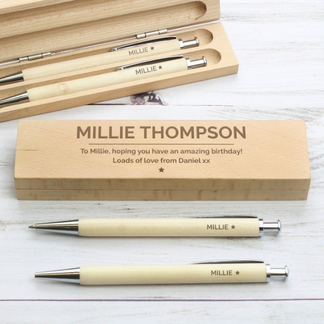 Hampers and Gifts to the UK - Send the Personalised Classic Wooden Pen and Pencil Gift Set