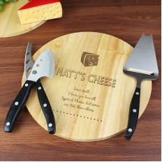 Hampers and Gifts to the UK - Send the Personalised Vintage Cheese Board and Knife Set