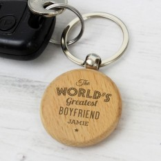 Hampers and Gifts to the UK - Send the Personalised The Worlds Greatest Wooden Keyring