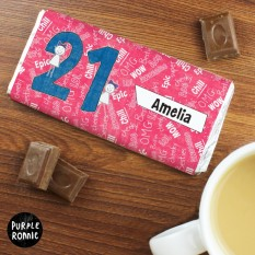 Hampers and Gifts to the UK - Send the Personalised Purple Ronnie 21st Birthday Chocolate Bar