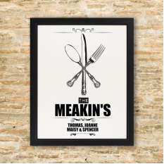 Hampers and Gifts to the UK - Send the Personalised Cutlery Framed Print