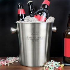 Hampers and Gifts to the UK - Send the Personalised Decorative Stainless Steel Ice Bucket