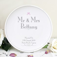 Hampers and Gifts to the UK - Send the Personalised  Mr and Mrs Decorative Wedding Plate