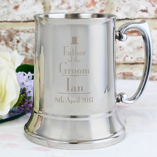 Hampers and Gifts to the UK - Send the Father of the Bride Stainless Steel Tankard - Personalised