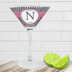 Hampers and Gifts to the UK - Send the Personalised Houndstooth Cocktail Glass