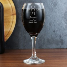 Hampers and Gifts to the UK - Send the Personalised 21st Birthday Wine Glass