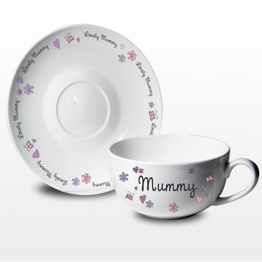 Hampers and Gifts to the UK - Send the Any Name Flowers Butterflies Tea Cup and Saucer