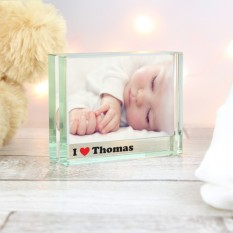 Hampers and Gifts to the UK - Send the Personalised I Heart Crystal Photo Frame