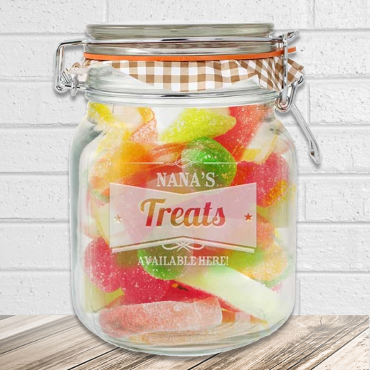 Hampers and Gifts to the UK - Send the Personalised ANY NAME Retro Label Glass Kilner Jar