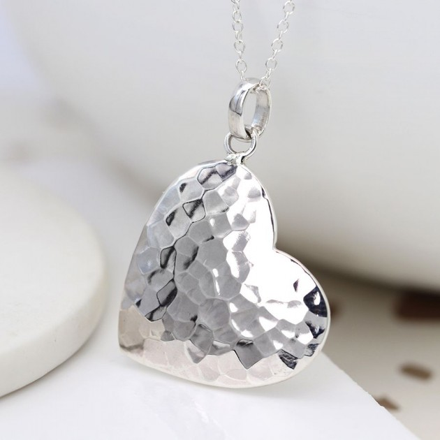 Hampers and Gifts to the UK - Send the Sterling Silver Large Hammered Heart Necklace