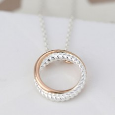 Hampers and Gifts to the UK - Send the Sterling Silver Twist and Rose Gold Hoop Necklace