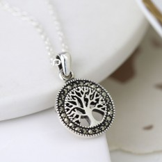 Hampers and Gifts to the UK - Send the Sterling Silver Marcasite Tree of Life Necklace