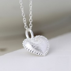 Hampers and Gifts to the UK - Send the Sterling Silver Scratched Heart Necklace