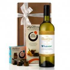 Hampers and Gifts to the UK - Send the Personalised Logo Thank You Wine Gift