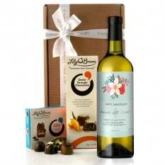 Hampers and Gifts to the UK - Send the Happy Anniversary Vintage Floral Wine Gift Personalised