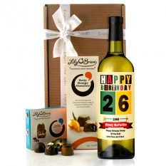 Hampers and Gifts to the UK - Send the Personalised Any Name Retro Birthday Wine Gift