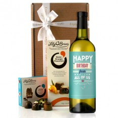 Hampers and Gifts to the UK - Send the Birthday Wishes From All Of Us Wine Gift