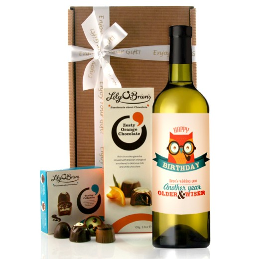 Hampers and Gifts to the UK - Send the Birthday Wise Owl Wine Gift