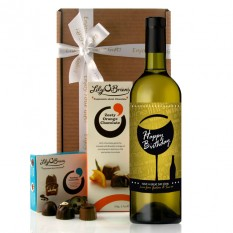 Hampers and Gifts to the UK - Send the Personalised Birthday Wine and Chocolates Gift