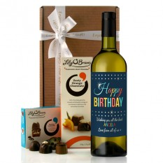 Hampers and Gifts to the UK - Send the Personalised Retro Colour Birthday Wine Gift