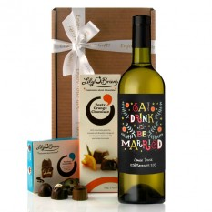 Hampers and Gifts to the UK - Send the Personalised Eat Drink and Be Married Wine Gift