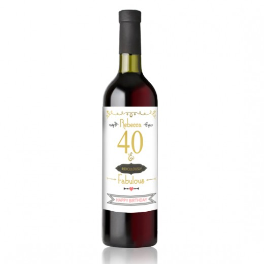 Hampers and Gifts to the UK - Send the Fortieth Birthday Ridiculously Fabulous Wine