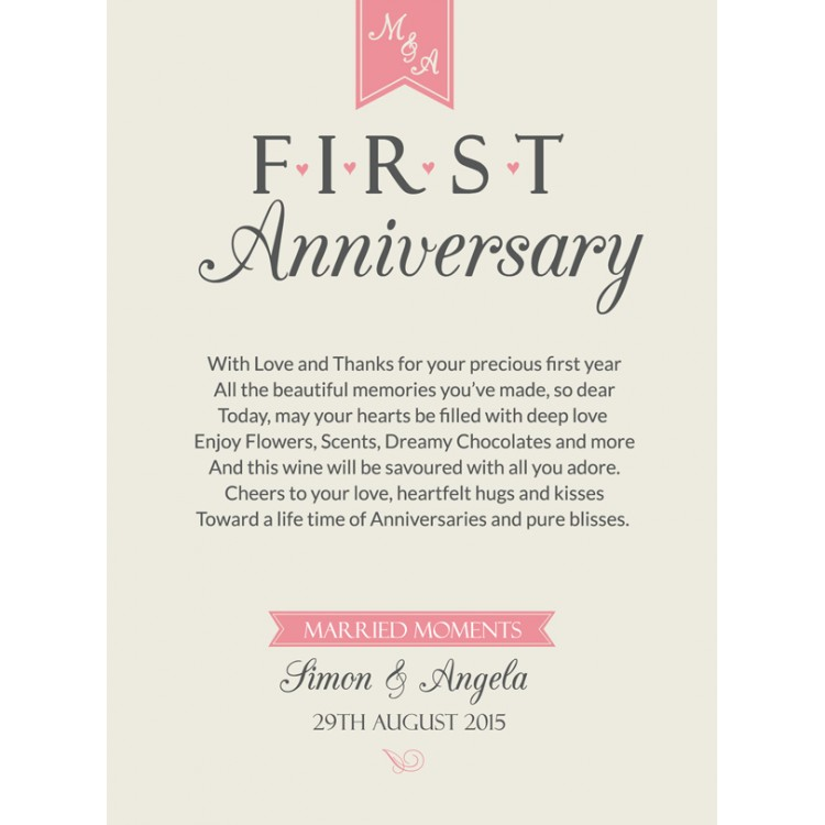 First anniversary gift personalised wine label