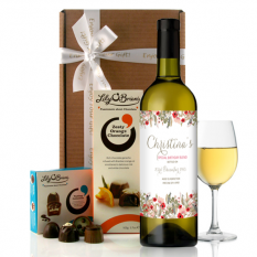 Hampers and Gifts to the UK - Send the  Personalised Birthday VIntage Floral Wine Gift