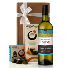 Hampers and Gifts to the UK - Send the Personalised Logo Wine Gift