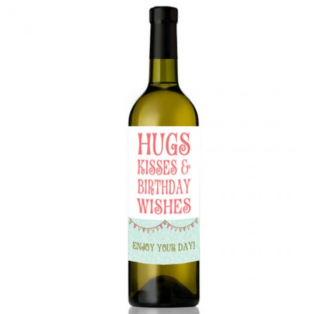 Hampers and Gifts to the UK - Send the Hugs and Kisses Birthday Wishes Wine
