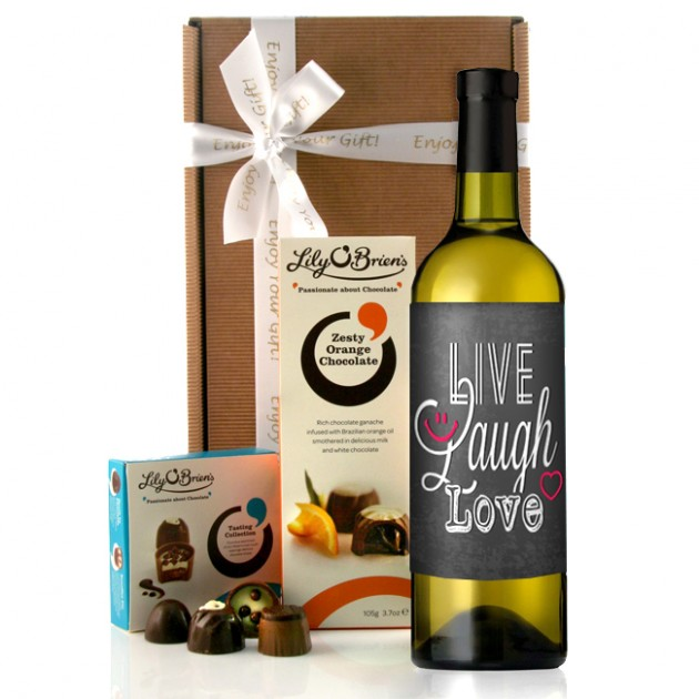Hampers and Gifts to the UK - Send the Live Laugh Love and Drink Wine Gift