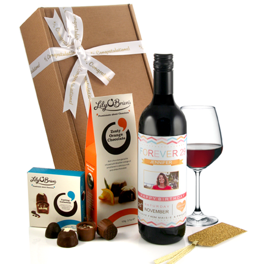 Hampers and Gifts to the UK - Send the  Personalised  Forever 29 with Photo Wine Gift