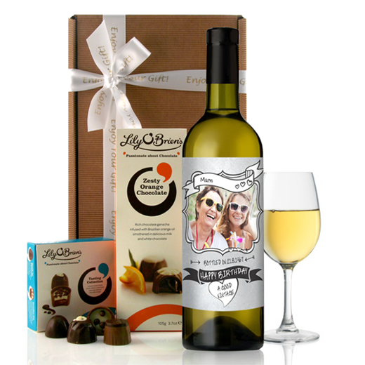 Hampers and Gifts to the UK - Send the  Personalised Photo Feature Birthday Wine Gift