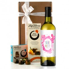 Hampers and Gifts to the UK - Send the You're Pretty Wine and Chocolates Gift