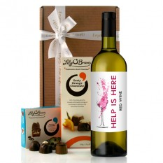 Hampers and Gifts to the UK - Send the Help Is Here Red Wine Gift