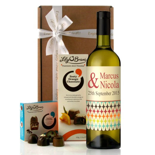 Hampers and Gifts to the UK - Send the Retro Colour Personalised Wine Gift