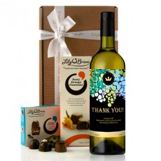 Thank You Gold Crest Wine Gift