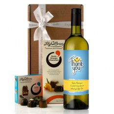 Hampers and Gifts to the UK - Send the  Personalised Thank You Smile Face Wine Gift