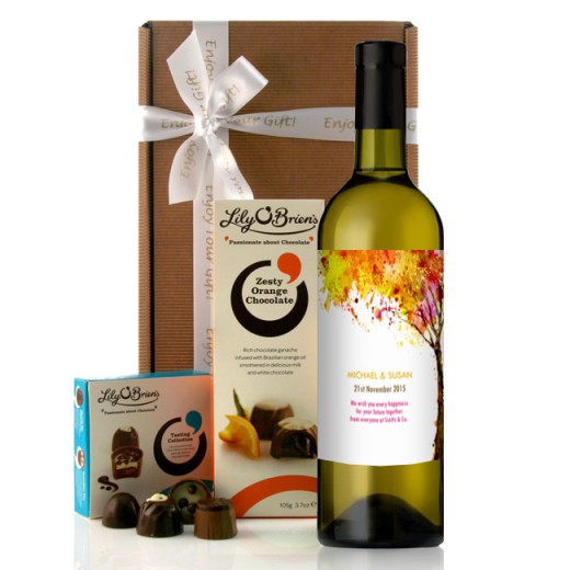 Hampers and Gifts to the UK - Send the Personalised Abstract Tree Wine Gift