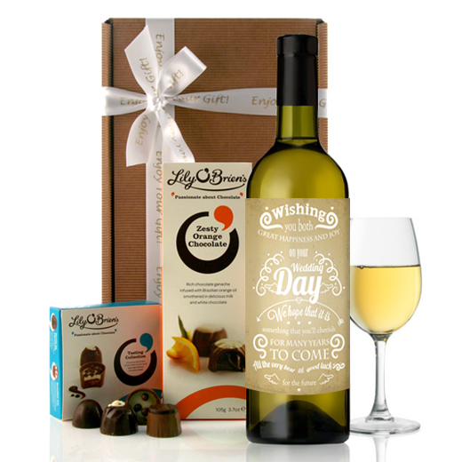 Hampers and Gifts to the UK - Send the Happiness and Joy On Your Wedding Day Wine Gift