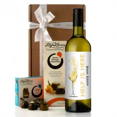 Hampers and Gifts to the UK - Send the Help Is Here White Wine Gift