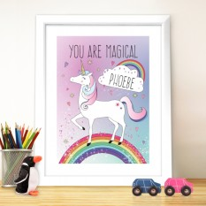 Hampers and Gifts to the UK - Send the Personalised Unicorn Poster Frame