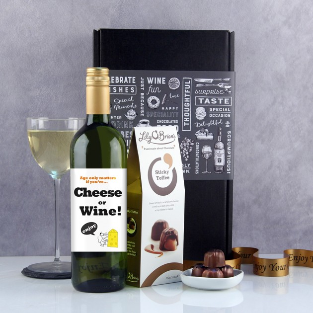Hampers and Gifts to the UK - Send the Age Only Matters If You're Cheese and Wine Gift