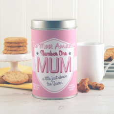 Hampers and Gifts to the UK - Send the Amazing Number One Mum Tin with a Dozen Cookies