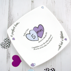 Hampers and Gifts to the UK - Send the Any Year Perfect Love Personalised Anniversary Plate