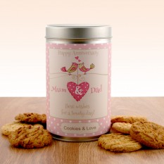 Hampers and Gifts to the UK - Send the Gift In a Tin - Anniversary Cookies for Mum and Dad