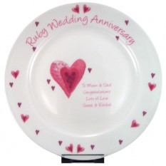 Hampers and Gifts to the UK - Send the Personalised Ruby Wedding Anniversary Plate