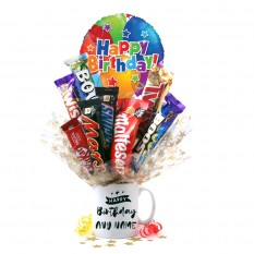 Hampers and Gifts to the UK - Send the Personalised Happy Birthday Chocolate Mug Bouquet