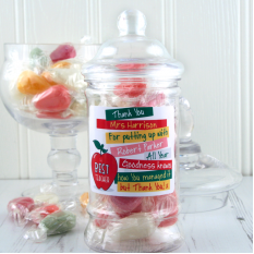 Hampers and Gifts to the UK - Send the Personalised Best Teacher Sweet Jar
