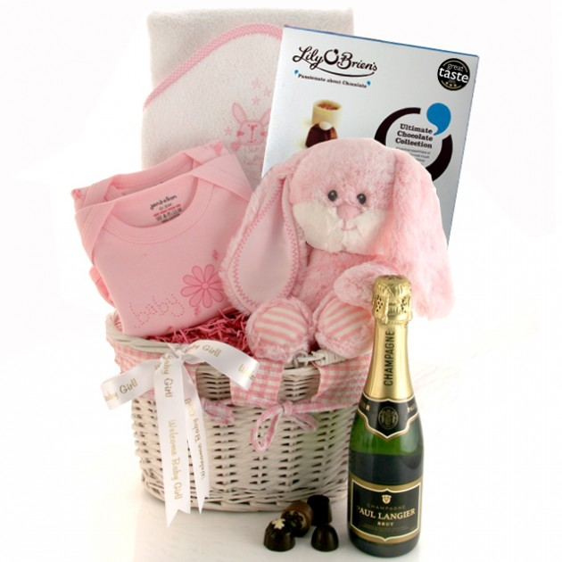 Hampers and Gifts to the UK - Send the New Baby Girl Celebration Gift Basket